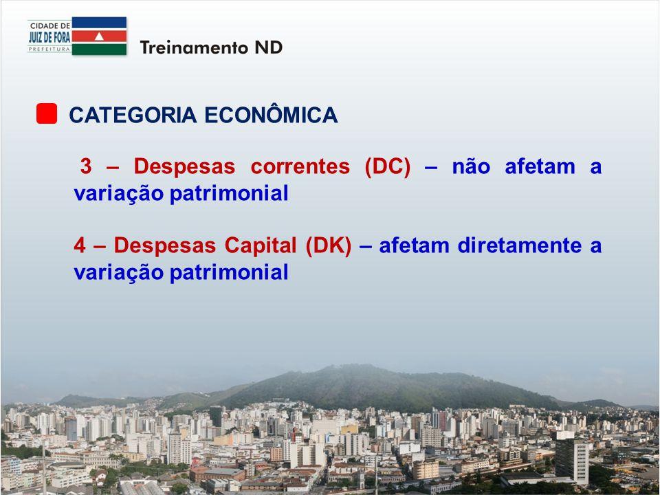 CATEGORIA ECONÔMICA 3 – Despesas correntes (DC) – não afetam a variação patrimonial.