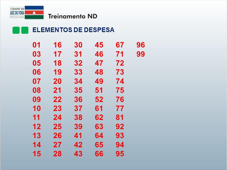 ELEMENTOS DE DESPESA 01. 16. 30. 45. 67. 96. 03. 17. 31. 46. 71. 99. 05. 18. 32. 47.