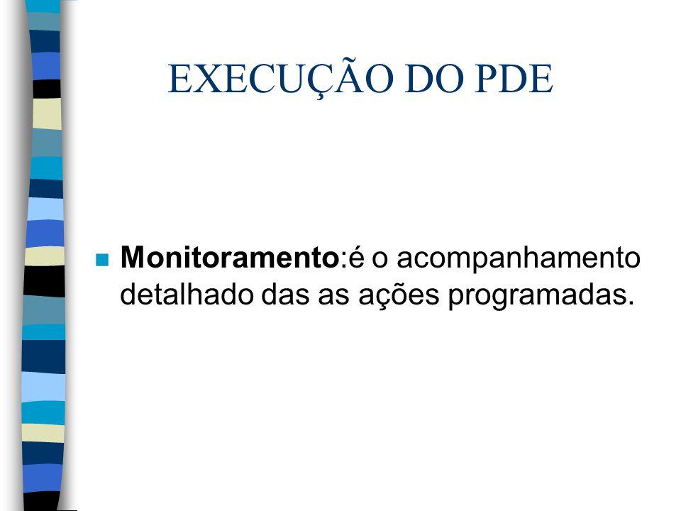 EXECUÇÃO DO PDE Monitoramento:é o acompanhamento detalhado das as ações programadas.