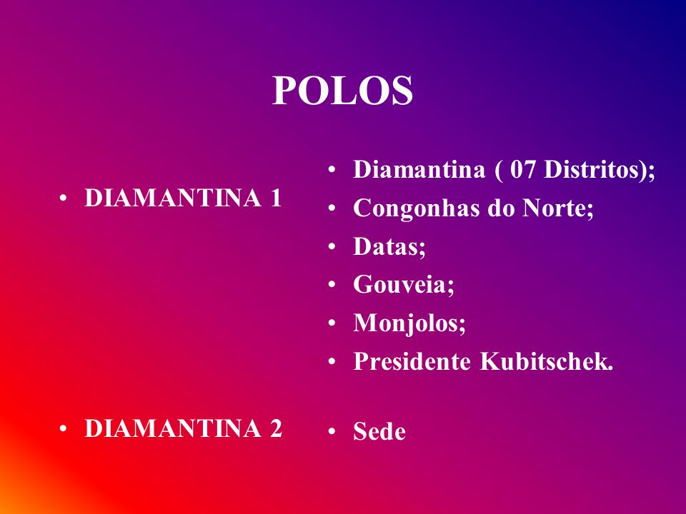 POLOS Diamantina ( 07 Distritos); Congonhas do Norte; DIAMANTINA 1