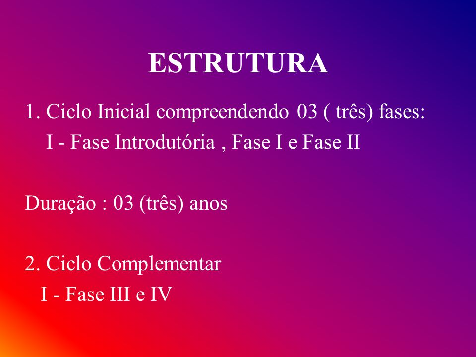 ESTRUTURA 1. Ciclo Inicial compreendendo 03 ( três) fases: