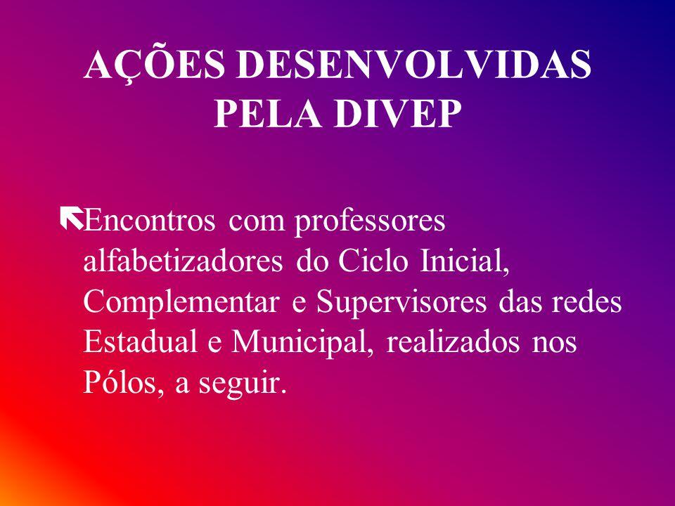 AÇÕES DESENVOLVIDAS PELA DIVEP