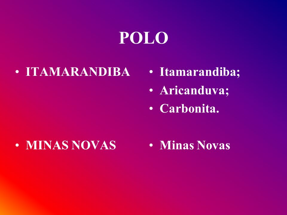 POLO ITAMARANDIBA MINAS NOVAS Itamarandiba; Aricanduva; Carbonita.