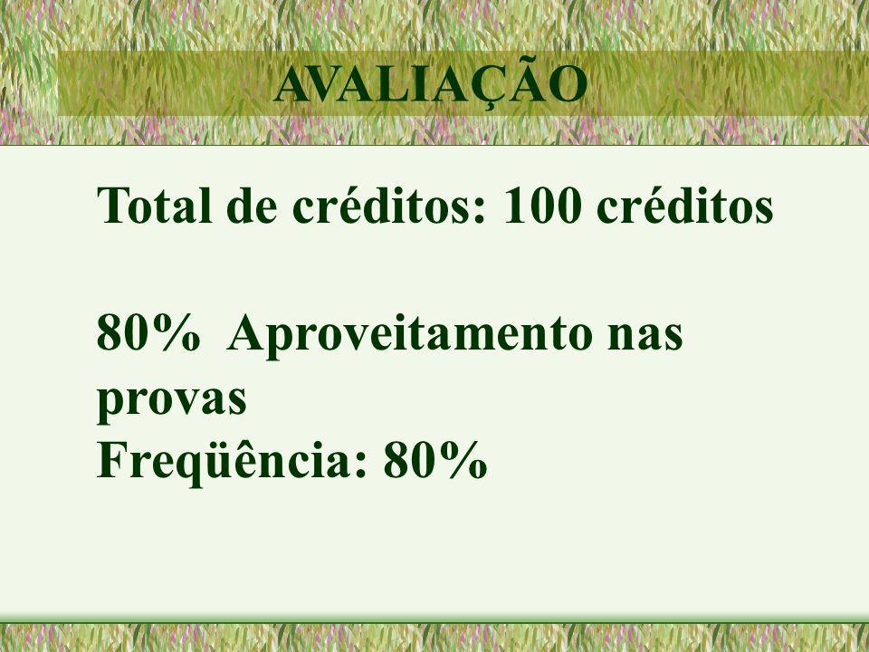 AVALIAÇÃO Total de créditos: 100 créditos 80% Aproveitamento nas provas Freqüência: 80%