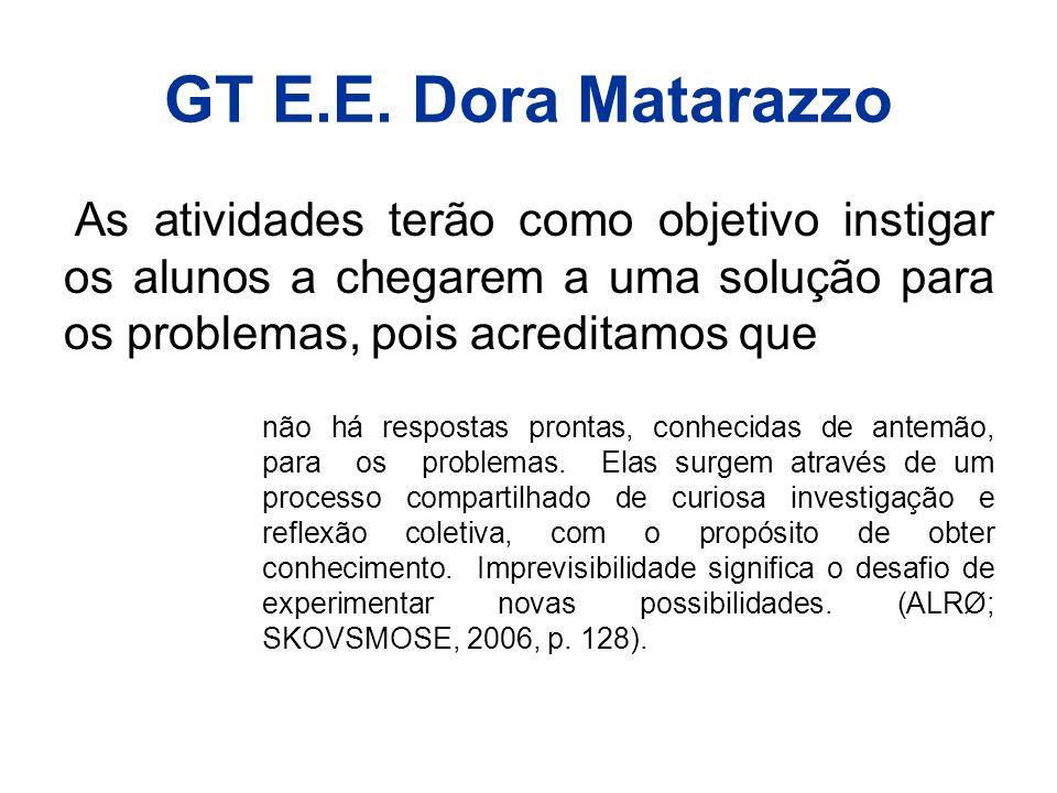 GT E.E. Dora Matarazzo As atividades terão como objetivo instigar os alunos a chegarem a uma solução para os problemas, pois acreditamos que.