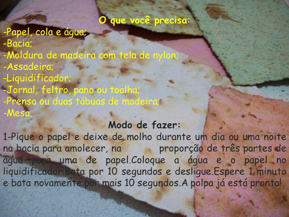 O que você precisa: -Papel, cola e água; -Bacia; -Moldura de madeira com tela de nylon; -Assadeira;