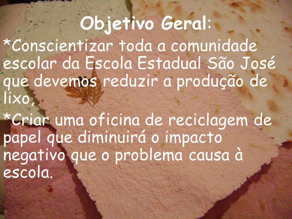 Objetivo Geral: *Conscientizar toda a comunidade escolar da Escola Estadual São José que devemos reduzir a produção de lixo,