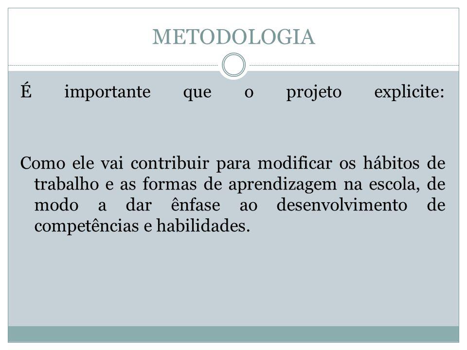 METODOLOGIA É importante que o projeto explicite: