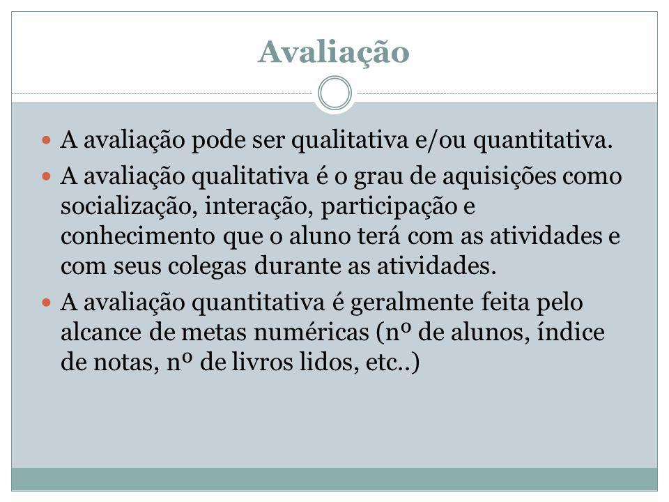 Avaliação A avaliação pode ser qualitativa e/ou quantitativa.
