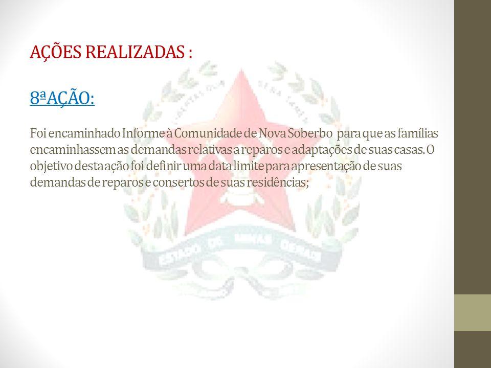 AÇÕES REALIZADAS : 8ªAÇÃO: Foi encaminhado Informe à Comunidade de Nova Soberbo para que as famílias encaminhassem as demandas relativas a reparos e adaptações de suas casas.