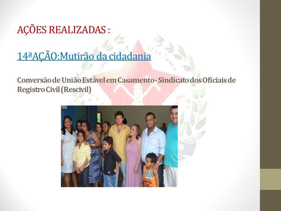 AÇÕES REALIZADAS : 14ªAÇÃO:Mutirão da cidadania Conversão de União Estável em Casamento - Sindicato dos Oficiais de Registro Civil (Rescivil)