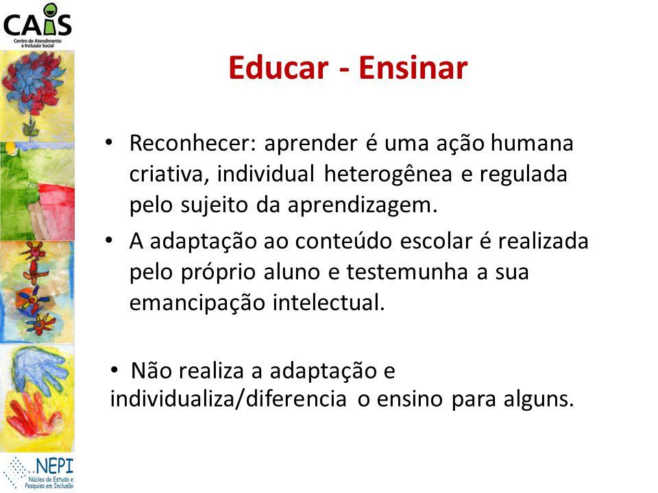 Educar - Ensinar Reconhecer: aprender é uma ação humana criativa, individual heterogênea e regulada pelo sujeito da aprendizagem.
