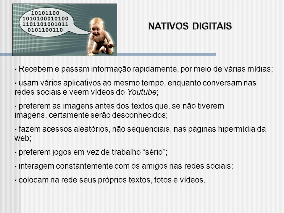 NATIVOS DIGITAIS Recebem e passam informação rapidamente, por meio de várias mídias;