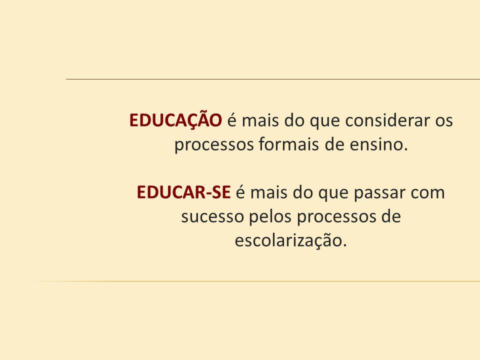EDUCAÇÃO é mais do que considerar os processos formais de ensino.