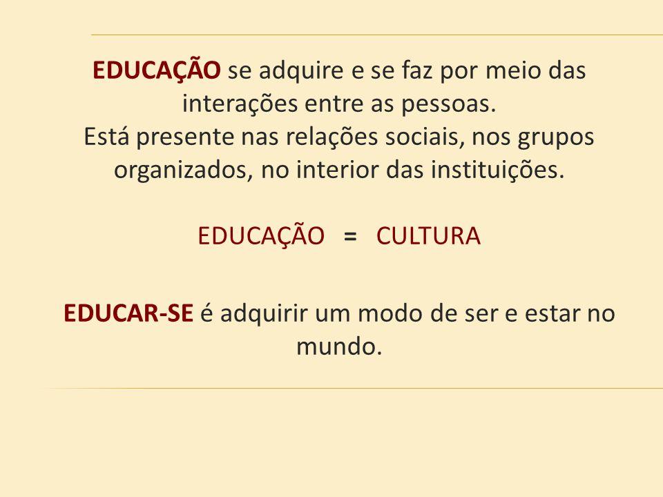 EDUCAÇÃO se adquire e se faz por meio das interações entre as pessoas.