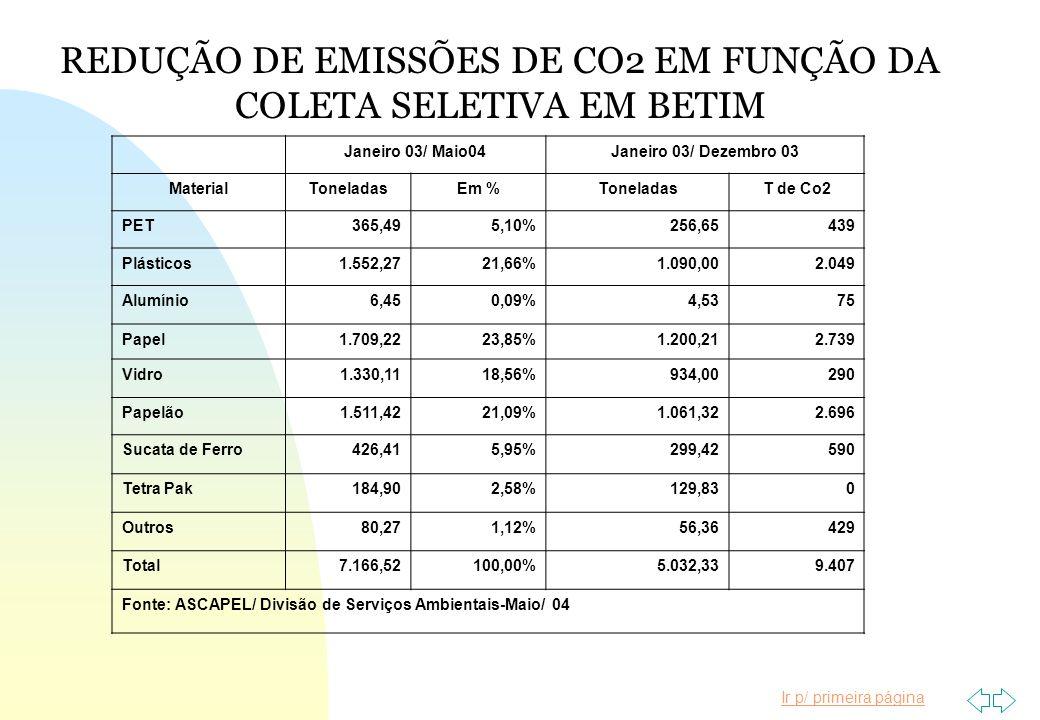 REDUÇÃO DE EMISSÕES DE CO2 EM FUNÇÃO DA COLETA SELETIVA EM BETIM