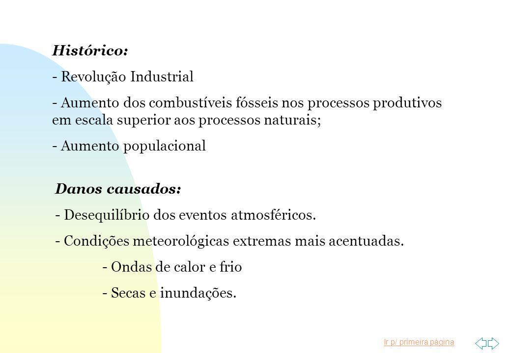 Histórico: Revolução Industrial. Aumento dos combustíveis fósseis nos processos produtivos em escala superior aos processos naturais;