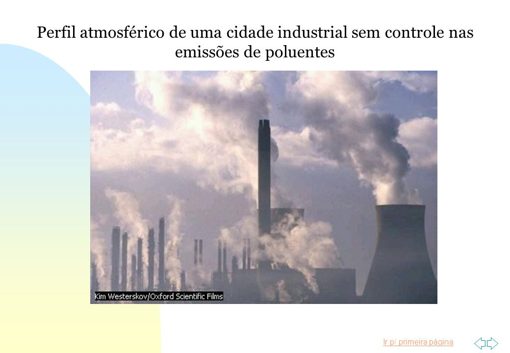 Perfil atmosférico de uma cidade industrial sem controle nas emissões de poluentes