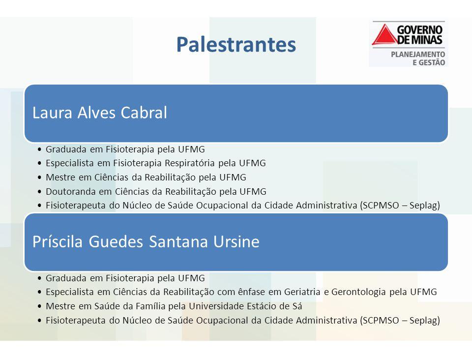Palestrantes Laura Alves Cabral Príscila Guedes Santana Ursine