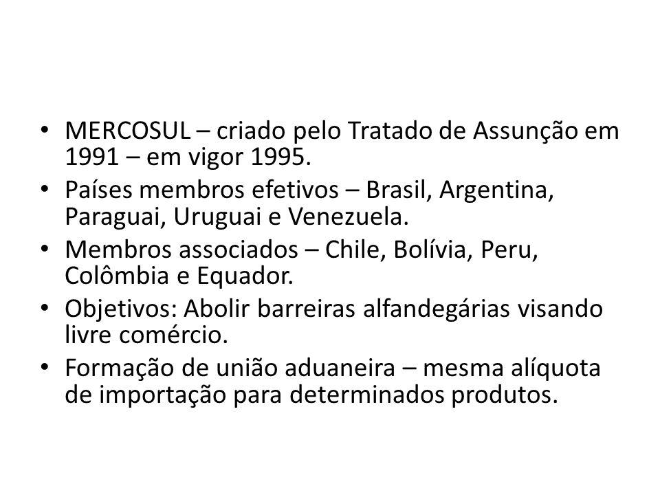 MERCOSUL – criado pelo Tratado de Assunção em 1991 – em vigor 1995.