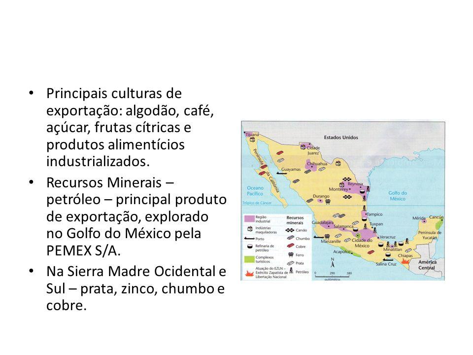 Principais culturas de exportação: algodão, café, açúcar, frutas cítricas e produtos alimentícios industrializados.
