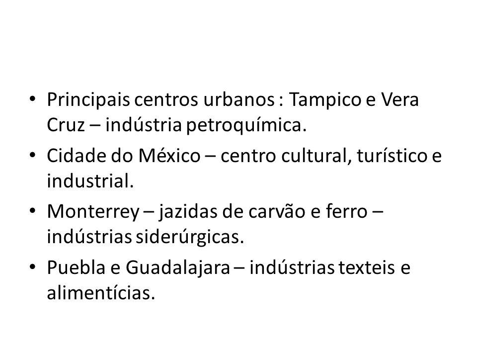 Principais centros urbanos : Tampico e Vera Cruz – indústria petroquímica.