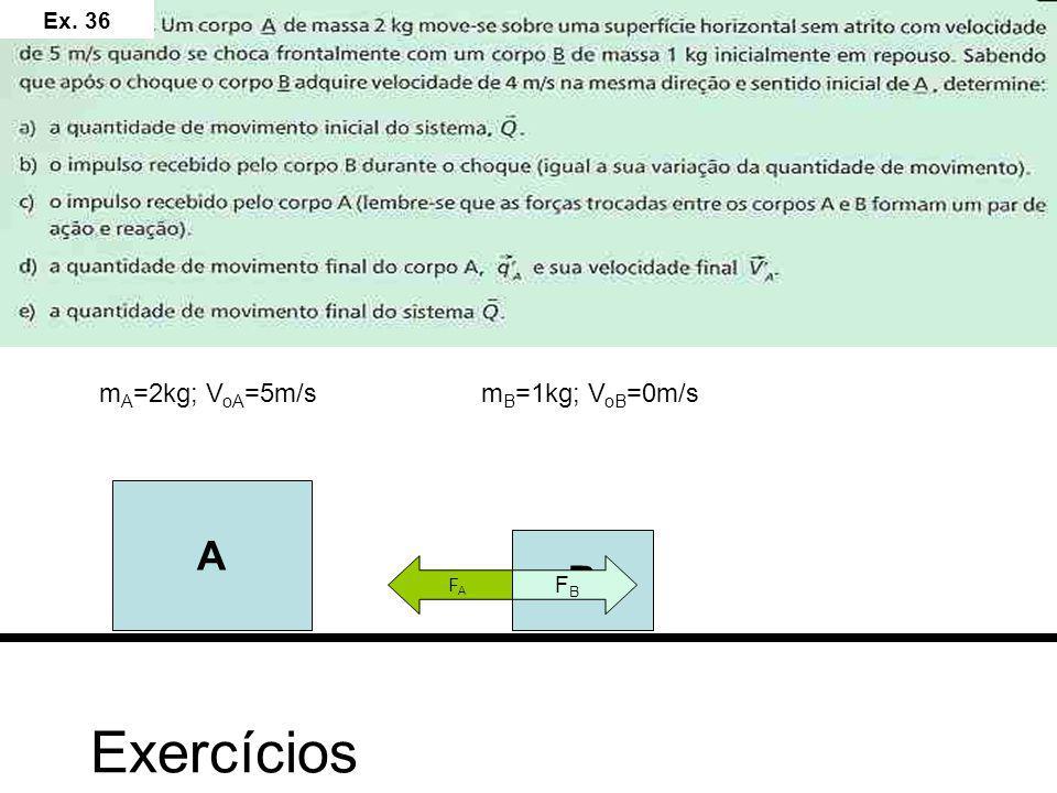Ex. 36 mA=2kg; VoA=5m/s mB=1kg; VoB=0m/s A B FB FA Exercícios