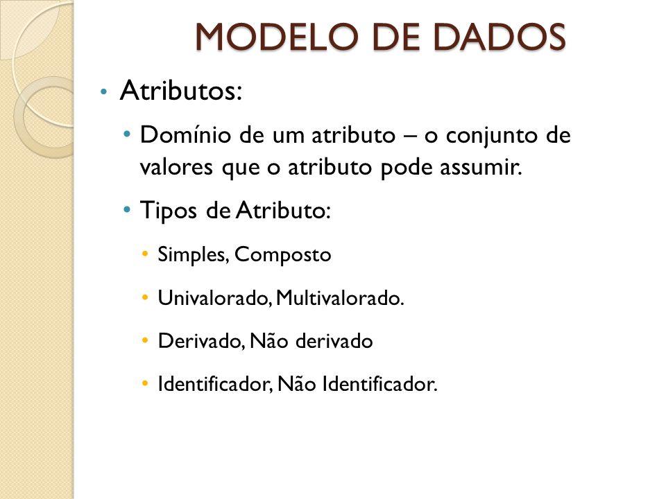 MODELO DE DADOS Atributos: