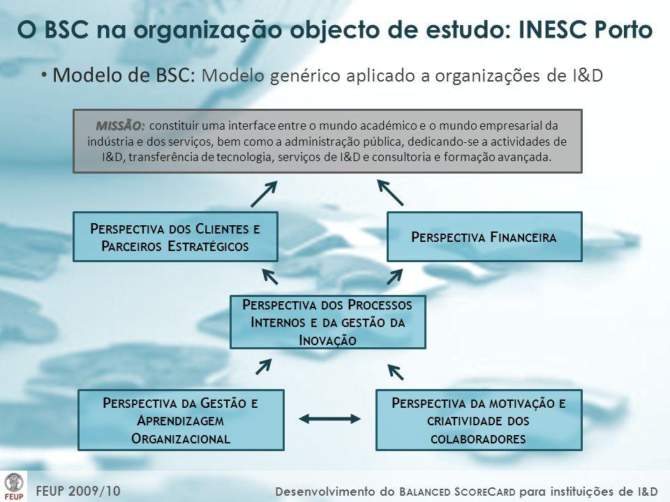 O BSC na organização objecto de estudo: INESC Porto