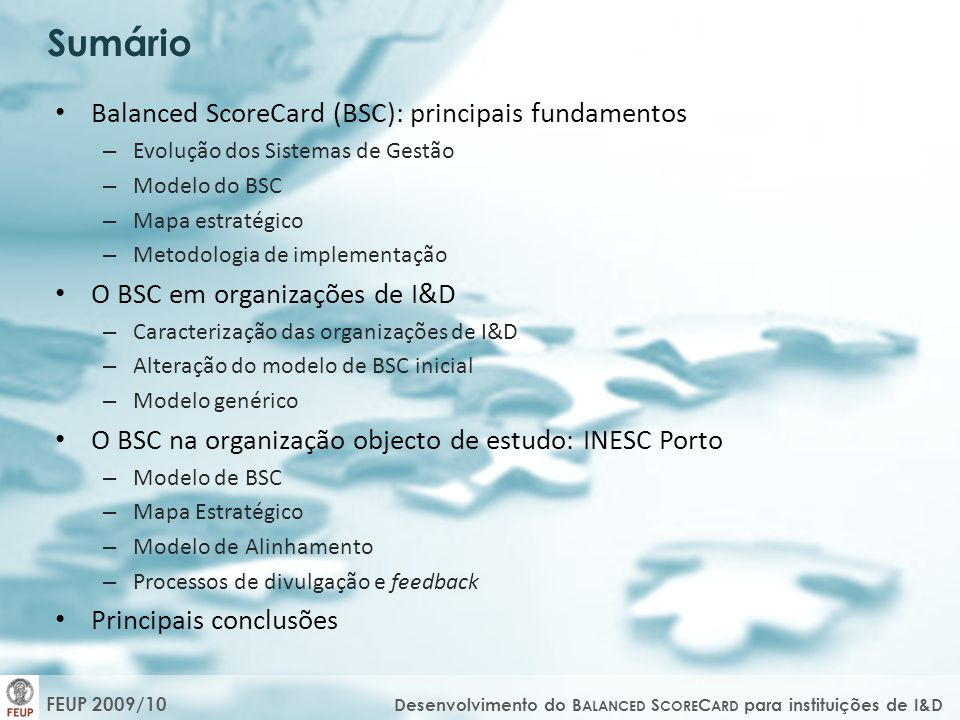 Sumário Balanced ScoreCard (BSC): principais fundamentos