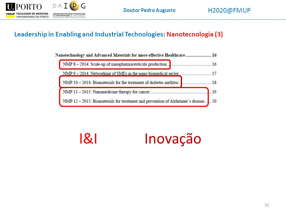 Doutor Pedro Augusto H2020@FMUP. Leadership in Enabling and Industrial Technologies: Nanotecnologia (3)