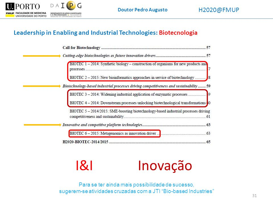 Doutor Pedro Augusto H2020@FMUP. Leadership in Enabling and Industrial Technologies: Biotecnologia.