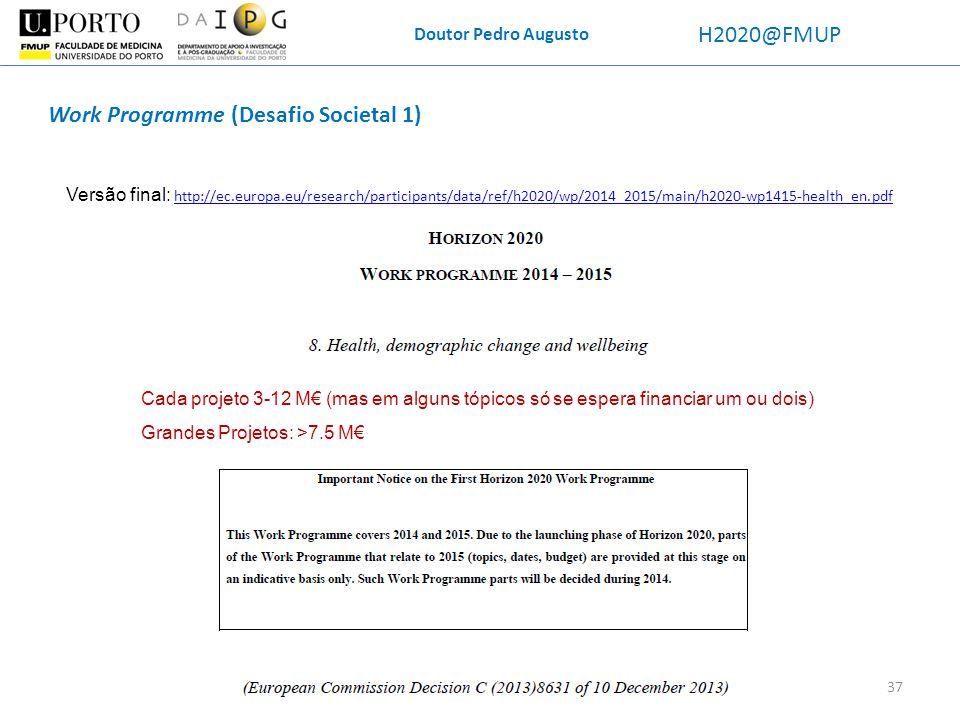 Work Programme (Desafio Societal 1)