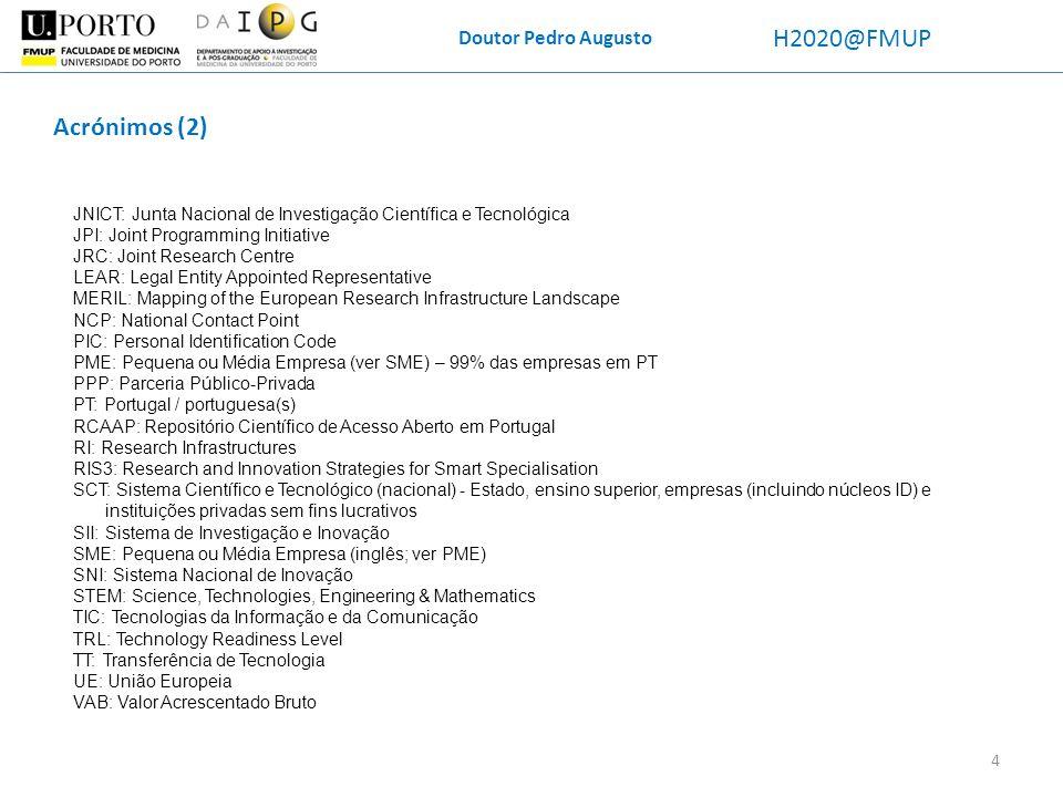 H2020@FMUP Acrónimos (2) Doutor Pedro Augusto