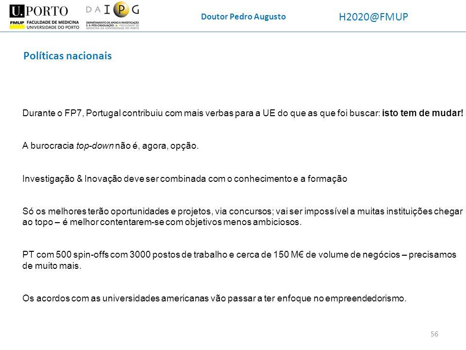 H2020@FMUP Políticas nacionais Doutor Pedro Augusto