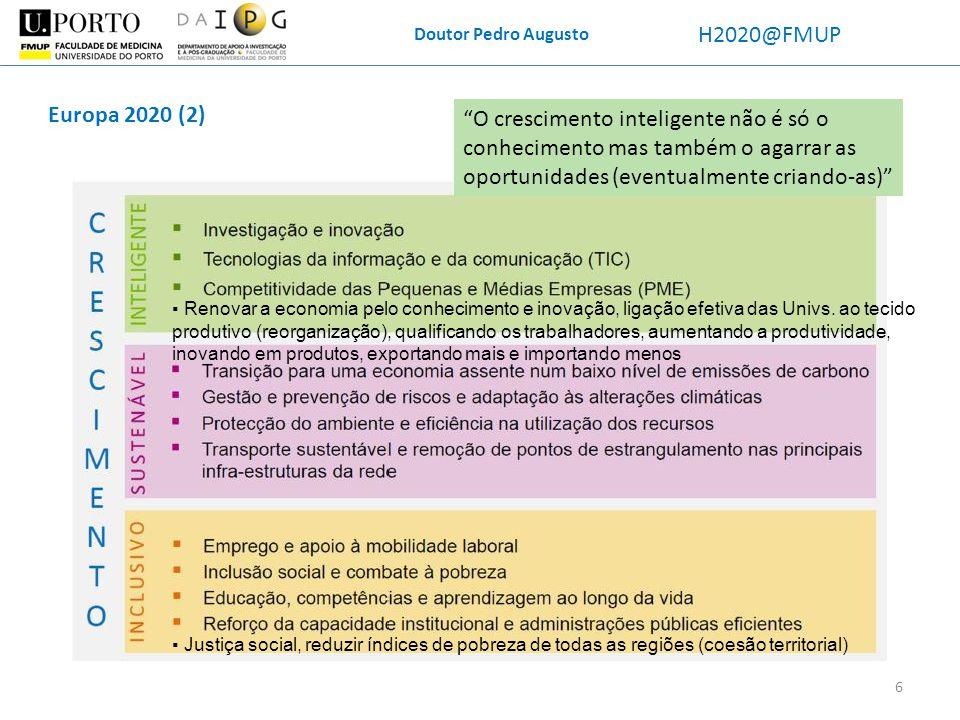 Doutor Pedro Augusto H2020@FMUP. Europa 2020 (2)