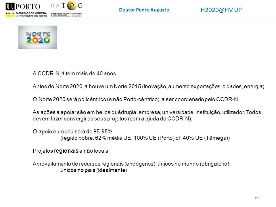 H2020@FMUP Doutor Pedro Augusto A CCDR-N já tem mais de 40 anos