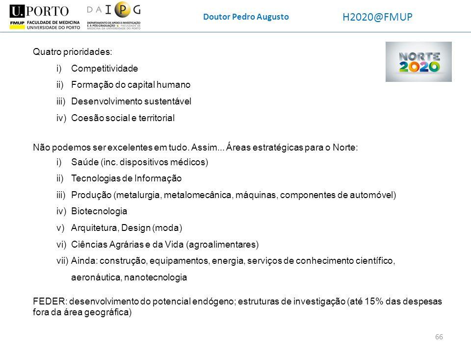 H2020@FMUP Doutor Pedro Augusto Quatro prioridades: Competitividade