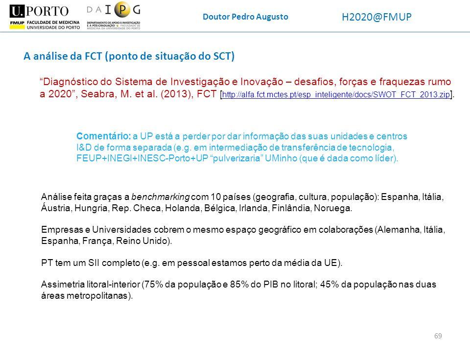 A análise da FCT (ponto de situação do SCT)
