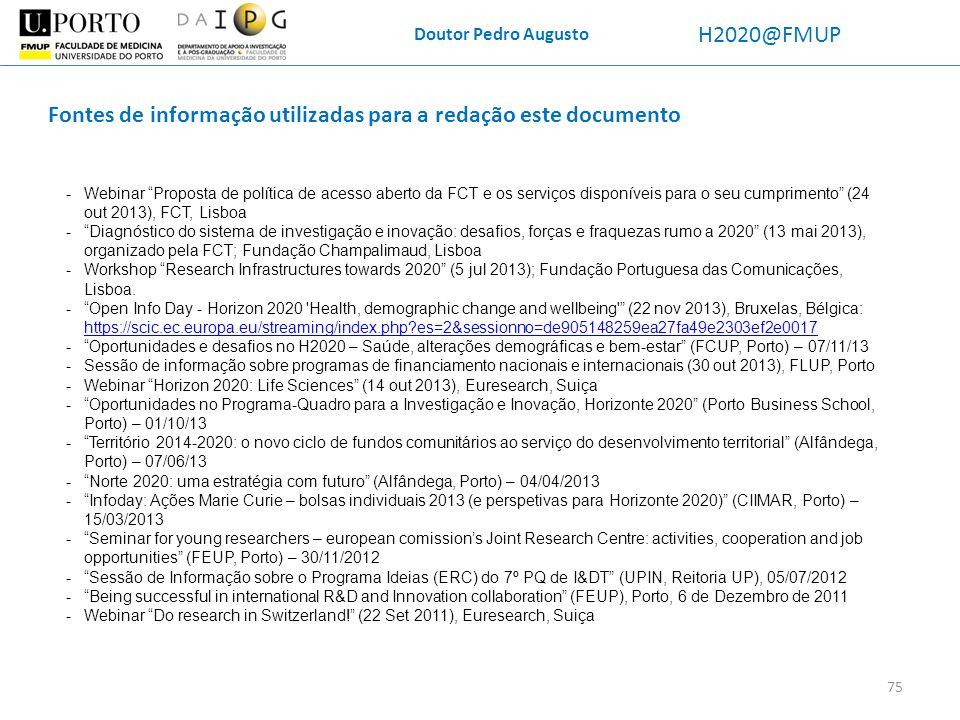 Fontes de informação utilizadas para a redação este documento