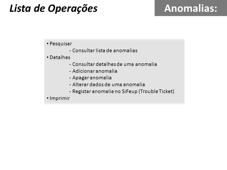 Lista de Operações Anomalias: Pesquisar - Consultar lista de anomalias