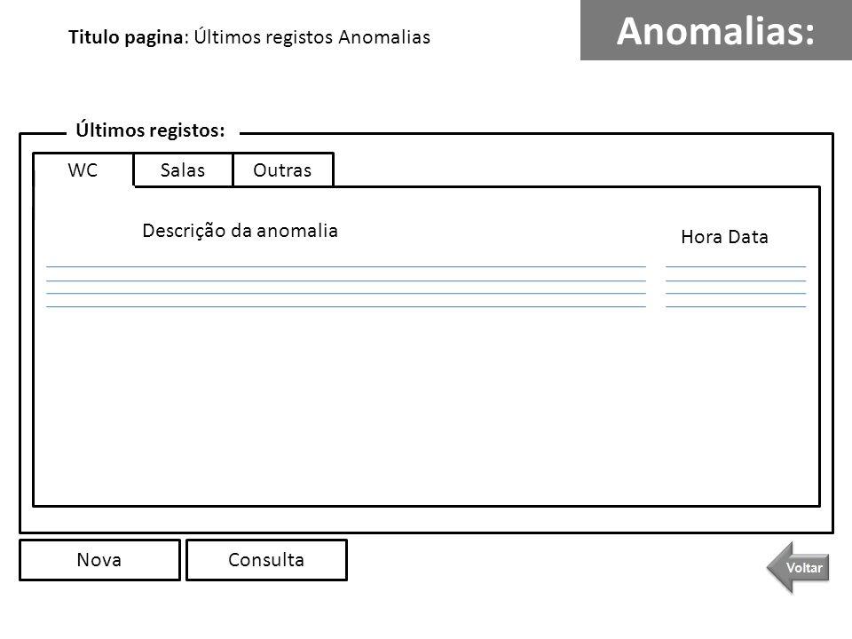 Anomalias: Titulo pagina: Últimos registos Anomalias Últimos registos: