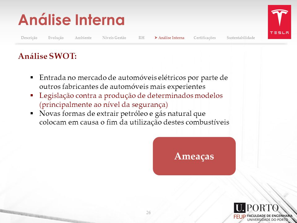 Análise Interna Ameaças Análise SWOT: