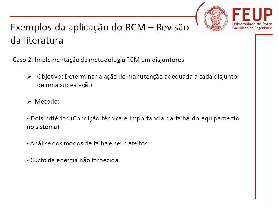 Exemplos da aplicação do RCM – Revisão da literatura
