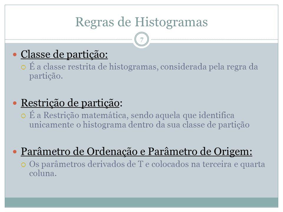 Regras de Histogramas Classe de partição: Restrição de partição: