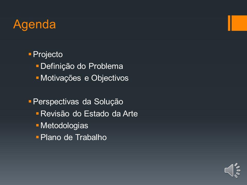 Agenda Projecto Definição do Problema Motivações e Objectivos