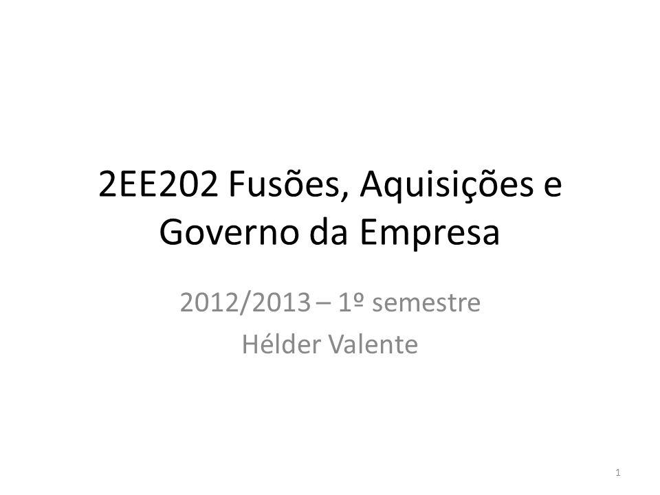 2EE202 Fusões, Aquisições e Governo da Empresa