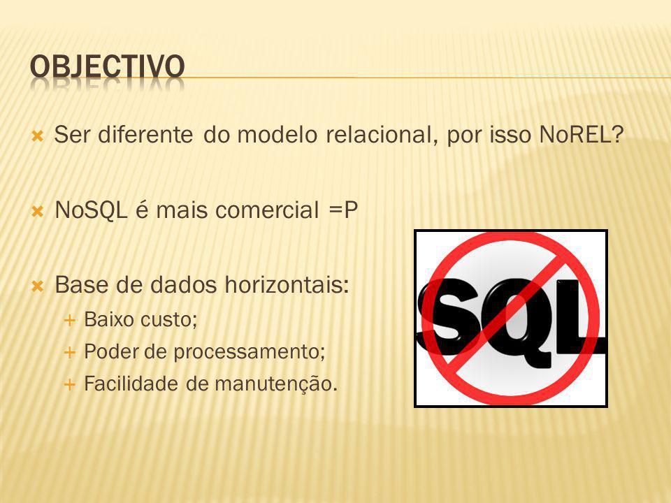 objectivo Ser diferente do modelo relacional, por isso NoREL