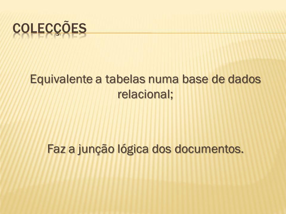 ColeCções Equivalente a tabelas numa base de dados relacional;