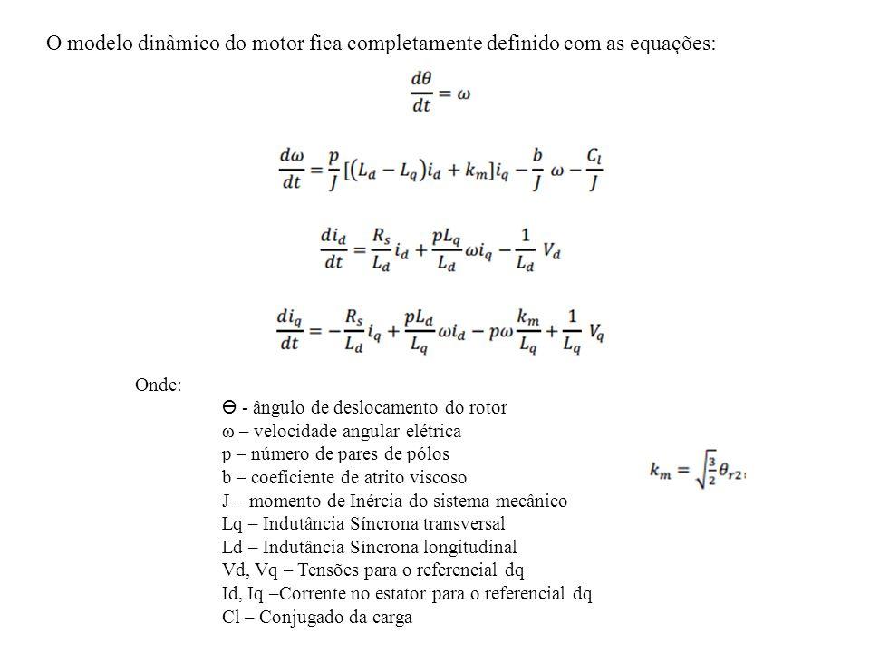 O modelo dinâmico do motor fica completamente definido com as equações: